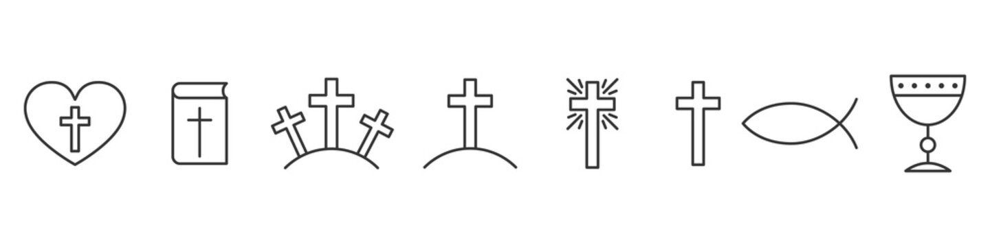 Set of outline christian icons. Religion icons