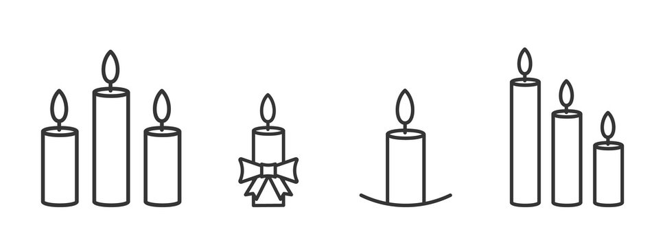 Set of outline burning christmas candles icons.
