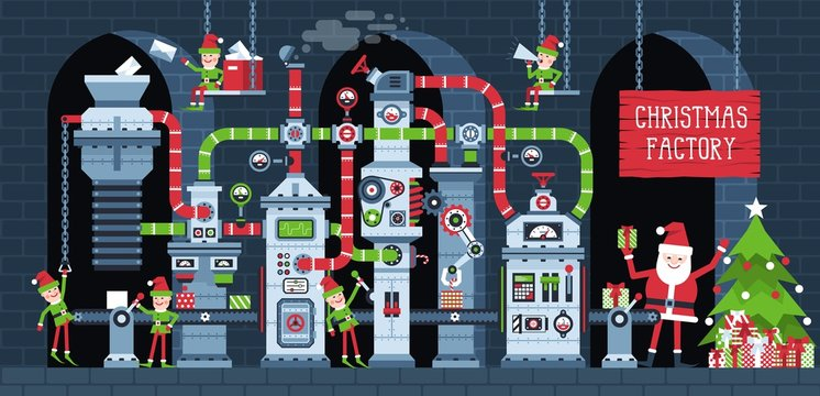 Christmas factory conveyor with working elves. Santa workshop machine production New Year's gifts. Fantastic industry Xmas vector illustration.