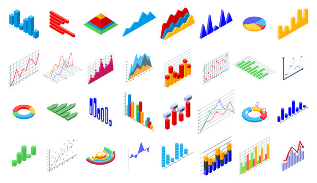 Regression icons set. Isometric set of regression vector icons for web design isolated on white background