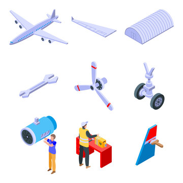 Aircraft repair icons set. Isometric set of aircraft repair vector icons for web design isolated on white background