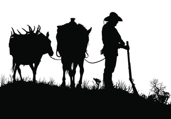 A vector silhouette of a wild west (18th century) mountain man standing next to his horse.
