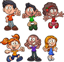 Obraz Happy cartoon boys and girls clip art. Vector illustration with simple gradients. Each on a separate layer.  - fototapety do salonu
