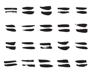 Equal Signs. Collection of 20 Black Hand Painted Equal Signs Isolated On a White Background. Vector Illustration