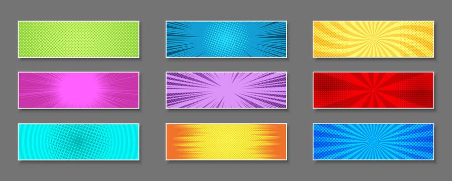 Comic colorful horizontal banners composition