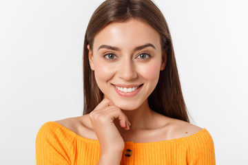 friendly smiling young woman with beatiful face portrait studio shot Fotomurales