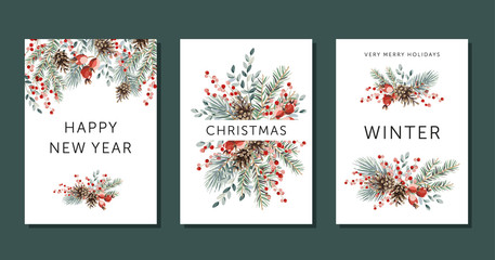 Christmas nature design greeting cards template, arrangements, text Winter, Happy New Year, Merry Holidays, white background. Green pine, fir twigs, cones, red berries. Vector xmas illustration