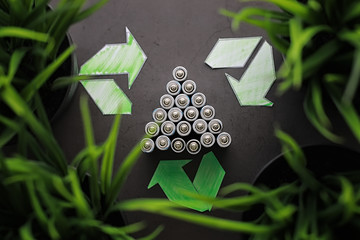 Batteries of different sizes. Caring for the environment. Disposal of used batteries. Zero waste.
