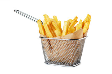 French fries in paper in metal wire basket isolated