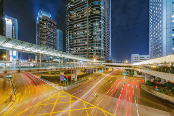 View of the evening city streets in Central district. Hong Kong.