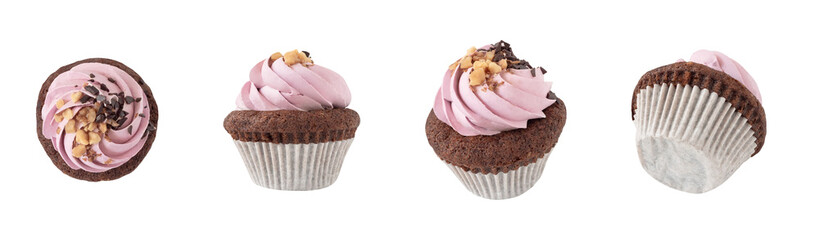 Top, side and front views of cupcake with pink cream decorated with chocolate and nuts. Dessert isolated on white background