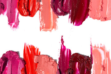 Creative concept photo of cosmetics swatches beauty products lipstick on white background. Wall mural