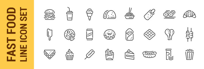 Photo sur Toile Snack Fast food line icon set. Burger sandwich pizza hot dog cola coffee sweets