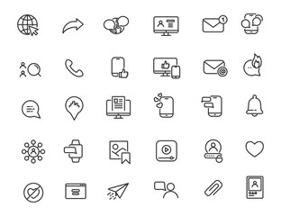 Set of linear social media icons. Internet icons in simple design. Vector illustration