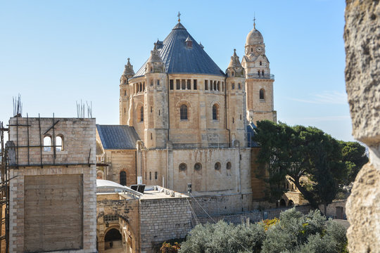 Mount Zion, Monastery of Assumption of the Blessed Virgin Mary. Dormition Monastery, German Catholic Abbey of the Order of the Benedictines in Jerusalem.