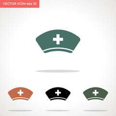 nurse hat vector icon isolated on white background