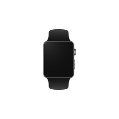 Black smart watch modern style. Isolated image.