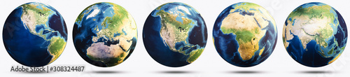Wall mural Planet Earth white isolated set