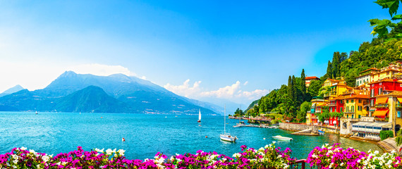 Varenna town, Como Lake district landscape. Italy, Europe. Fotomurales