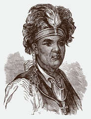 Portrait of historical mohawk chief thayendanegea or joseph brant after an engraving from the 19th century