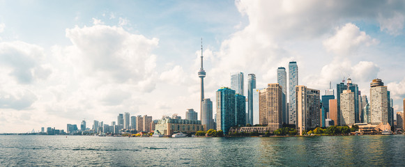 Acrylic Prints Toronto Panoramic view of Cloudy Toronto City Skyline with Waterfront