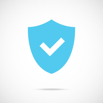 Shield and check mark icon. Security, protection, antivirus, insurance, quality concepts. Flat design. Vector icon