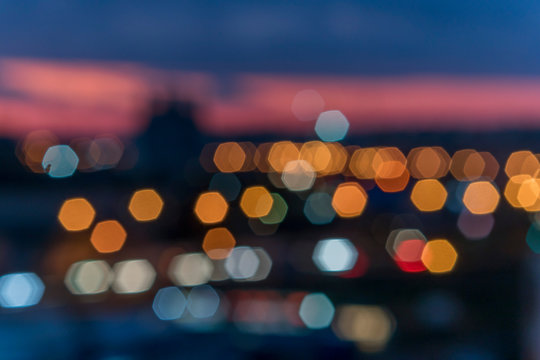 View of the evening city in the blur