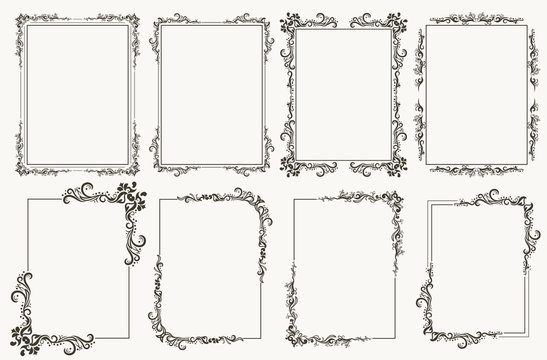 Calligraphic frame set. Borders corners ornate frames. Vector