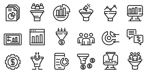 Conversion rate icons set. Outline set of conversion rate vector icons for web design isolated on white background