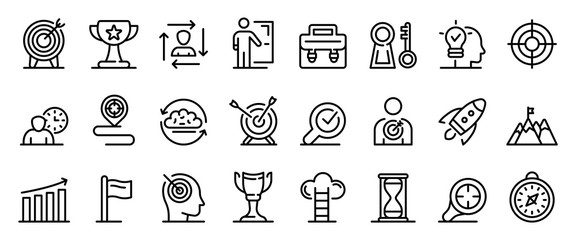 Mission icons set. Outline set of mission vector icons for web design isolated on white background