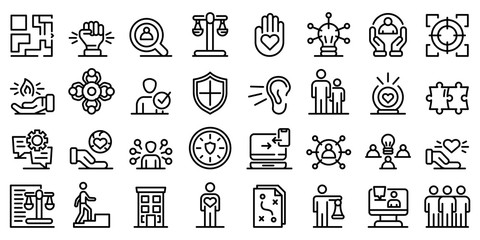 Responsibility icons set. Outline set of responsibility vector icons for web design isolated on white background