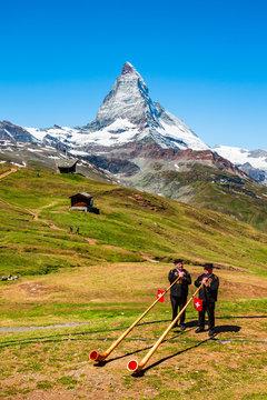 Swiss alphorn blowers in Switzerland