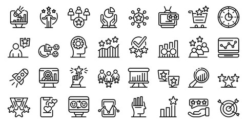 Reputation icons set. Outline set of reputation vector icons for web design isolated on white background