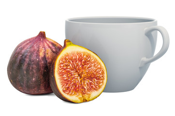 Warm common fig drink with fresh figs, 3D rendering