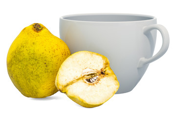 Warm quince drink with fresh quinces, 3D rendering