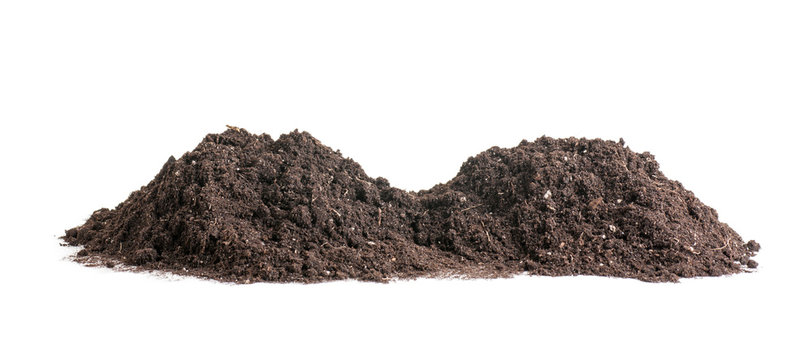 pile of soil  background, two heaps of earth isolated on a white background