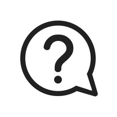 Question mark icon. FAQ sign. Help speech bubble symbol - stock vector