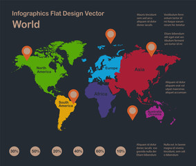 Infographics World map, flat design colors, with names of individual states, blue background with orange points vector
