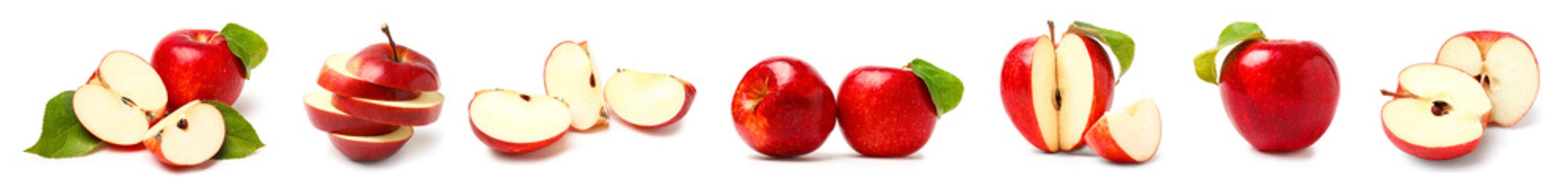 Set of fresh apples on white background