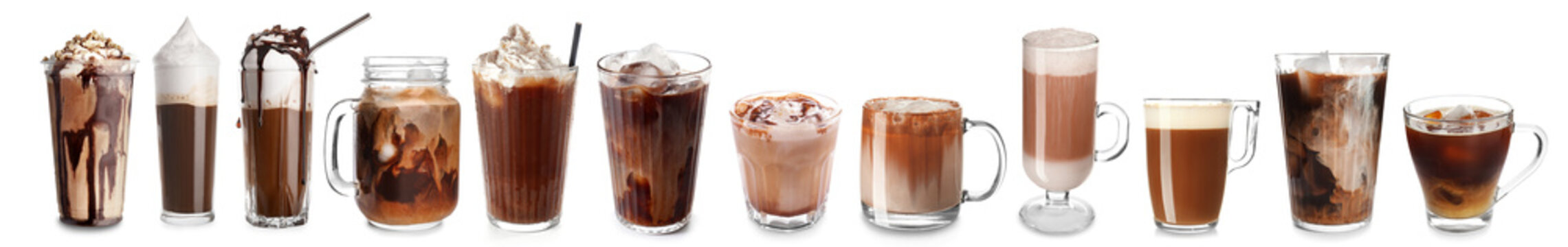 Plastic cup of tasty cold coffee with chocolate on white background
