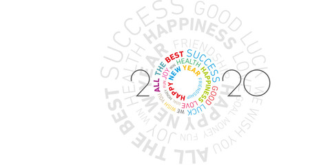 Happy New Year 2020 modern colorful circle word cloud text white isolated vector