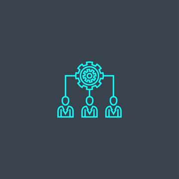 people management concept blue line icon. Simple thin element on dark background. people management concept outline symbol design from Management set. Can be used for web and mobile UI/UX