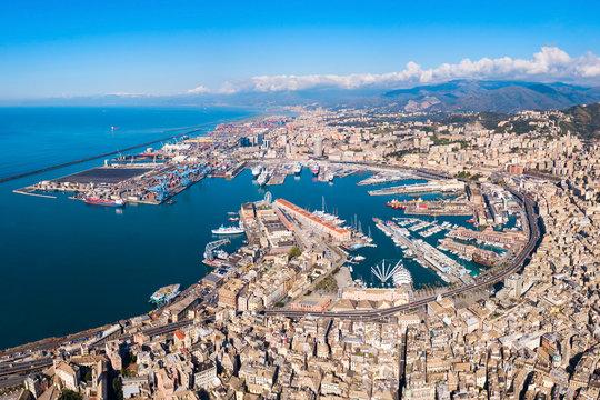 Genoa port aerial panoramic view