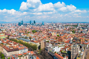 Milan aerial panoramic view, Italy
