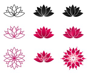 Collection of blooming lotus flowers for a logo. Set of stylized lotuses. Vector illustration. Yoga, wellness, spa, meditation design. Symbol of spiritual growth.