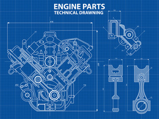 Fototapeta Technical blue background with drawings of details and mechanisms.Engine line drawing background. Vector illustration obraz