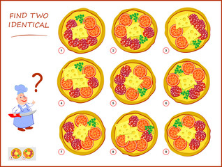 Logical puzzle game for children and adults. Need to find two identical pizzas. Educational page for kids. IQ training test. Printable worksheet for brain teaser book. Vector cartoon image.