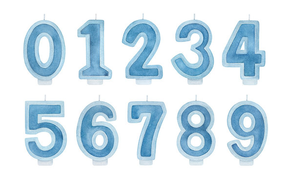 Navy blue Birthday Cake Candle Numbers pack (0, 1, 2, 3, 4, 5, 6, 7, 8, 9). Handdrawn watercolour on white background, cutout clipart elements for design, card, banner, invitation, scrapbook stickers.