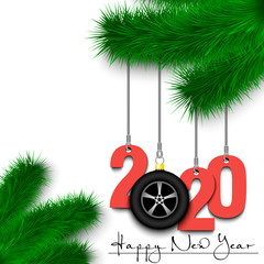Car wheel and 2020 on a Christmas tree branch