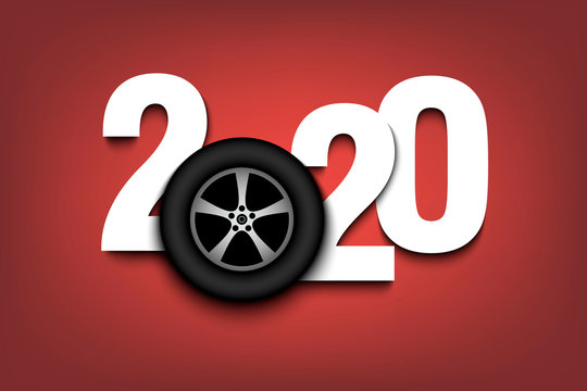 New Year numbers 2020 and car wheel